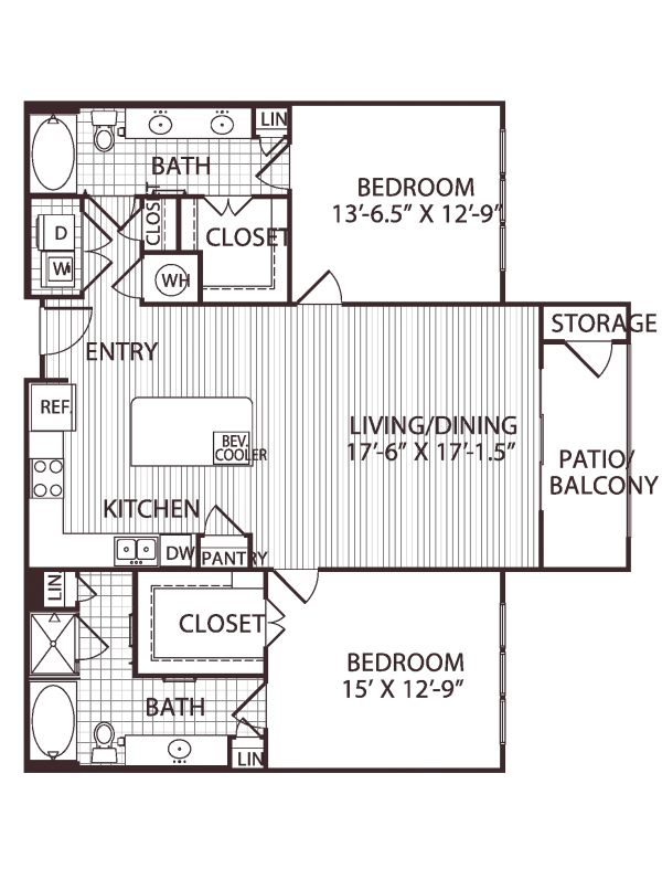 1,343 sq. ft. B6 floor plan