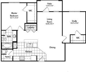 1,045 sq. ft. floor plan