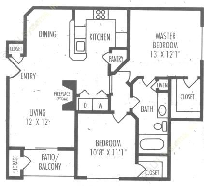 923 sq. ft. B2 floor plan
