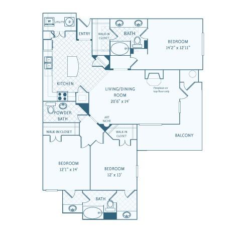 1,704 sq. ft. to 1,721 sq. ft. C1 floor plan