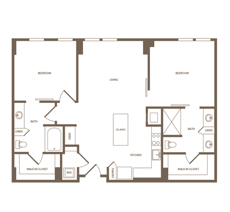 1,078 sq. ft. B1 floor plan