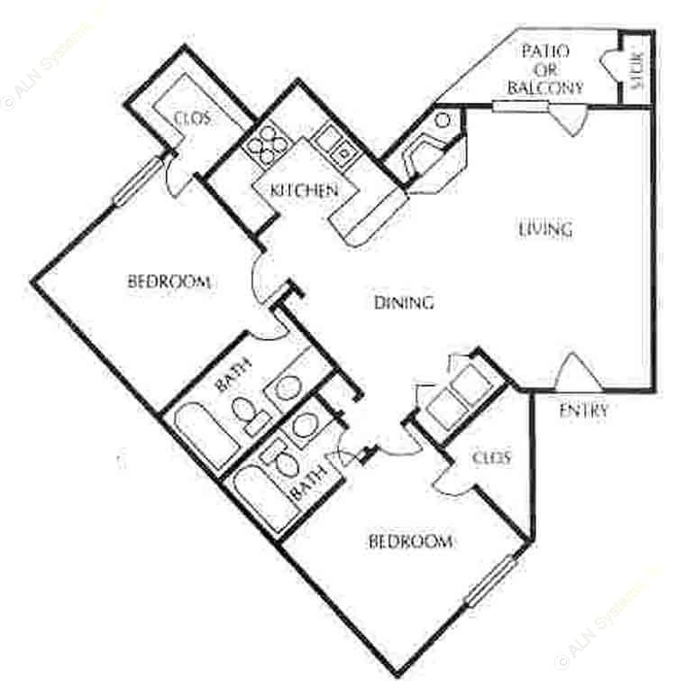 983 sq. ft. B-4 floor plan