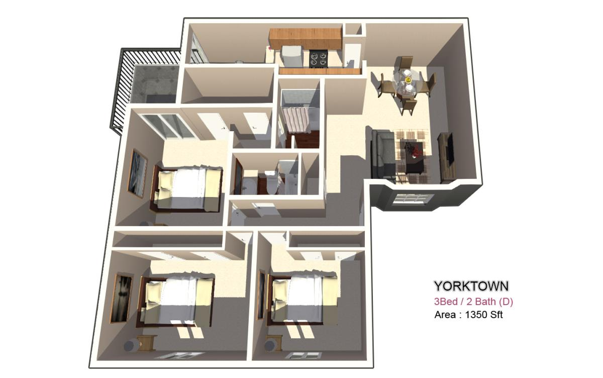 1,715 sq. ft. 2X2 floor plan