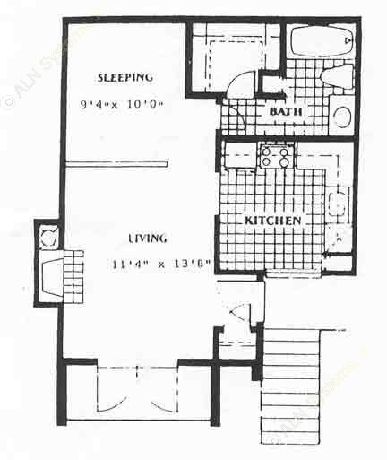 492 sq. ft. EFF floor plan