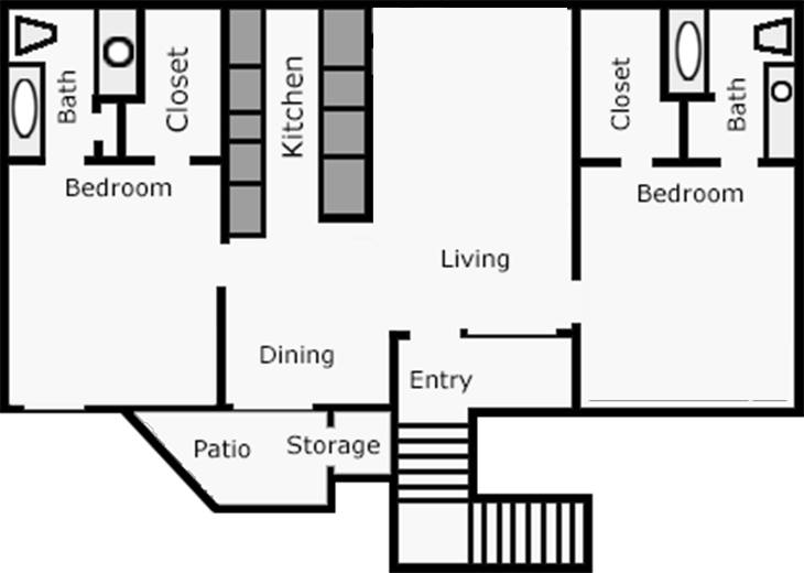 990 sq. ft. Daisy floor plan