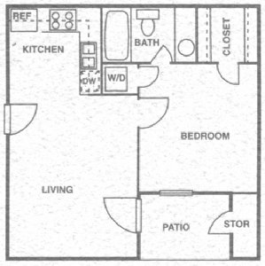 508 sq. ft. B floor plan