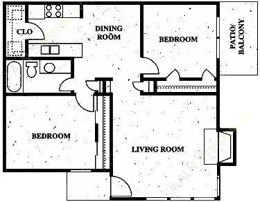 933 sq. ft. floor plan