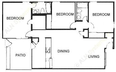 1,187 sq. ft. C2 floor plan