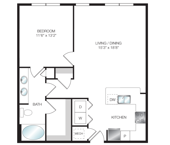971 sq. ft. A4.5 floor plan