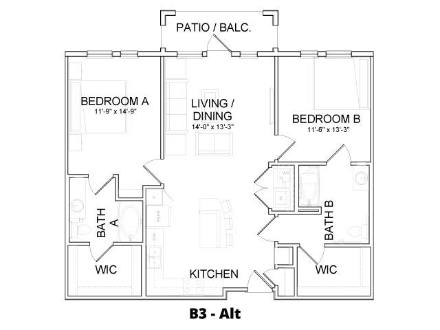 1,119 sq. ft. B3 ALT floor plan