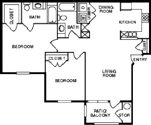 1,050 sq. ft. 50% floor plan