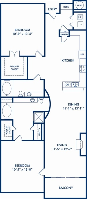 1,155 sq. ft. to 1,190 sq. ft. Riverside floor plan