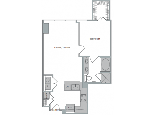 839 sq. ft. 1L floor plan