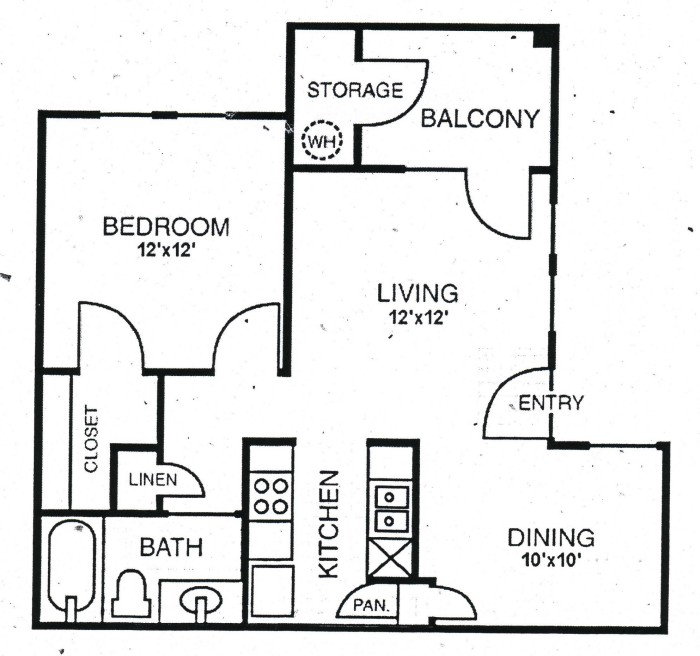 661 sq. ft. A2 floor plan