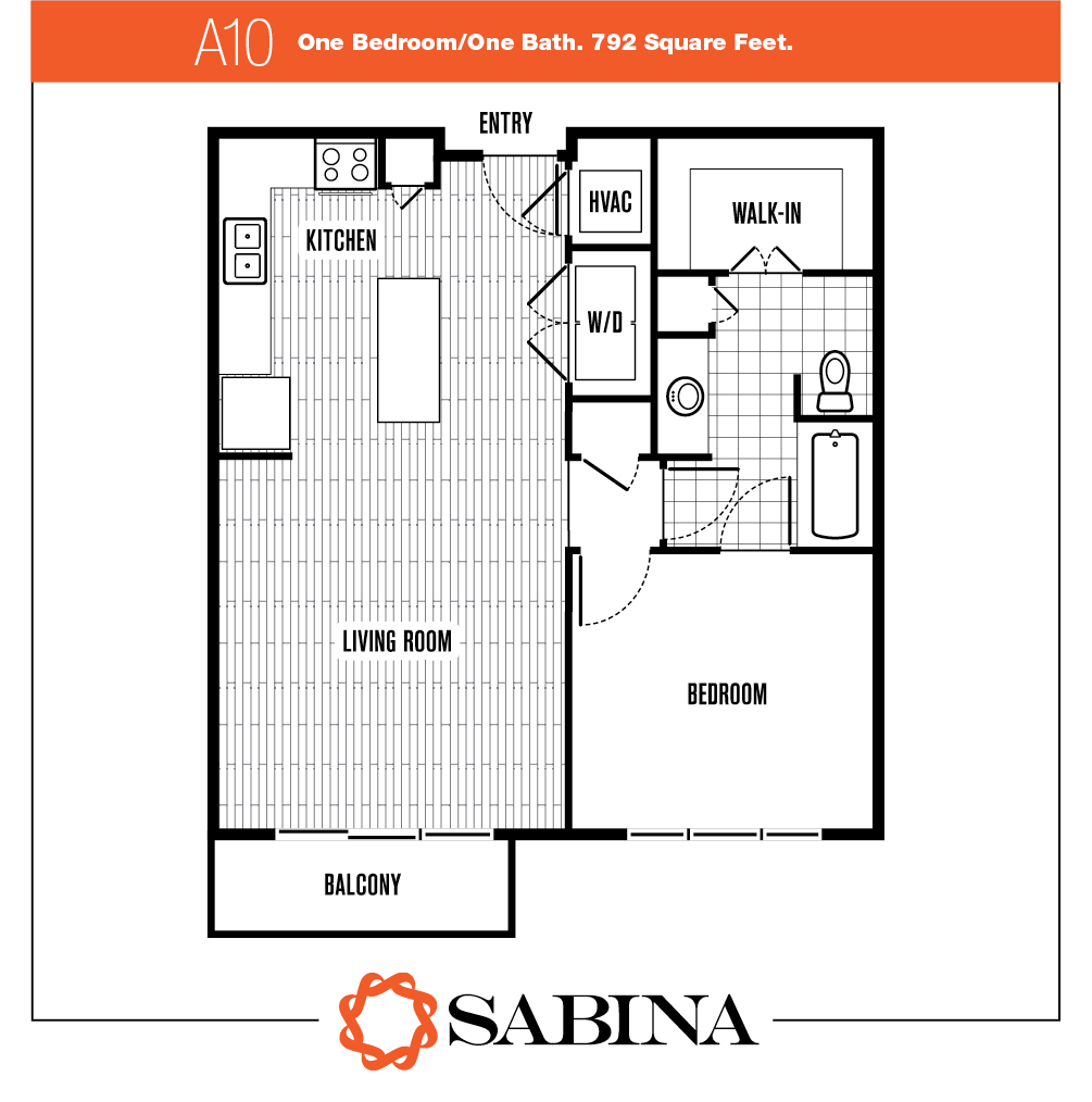 792 sq. ft. A10 floor plan