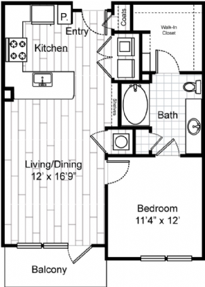 727 sq. ft. to 777 sq. ft. A3 floor plan