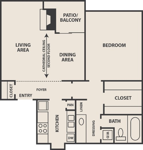 842 sq. ft. A-2 floor plan