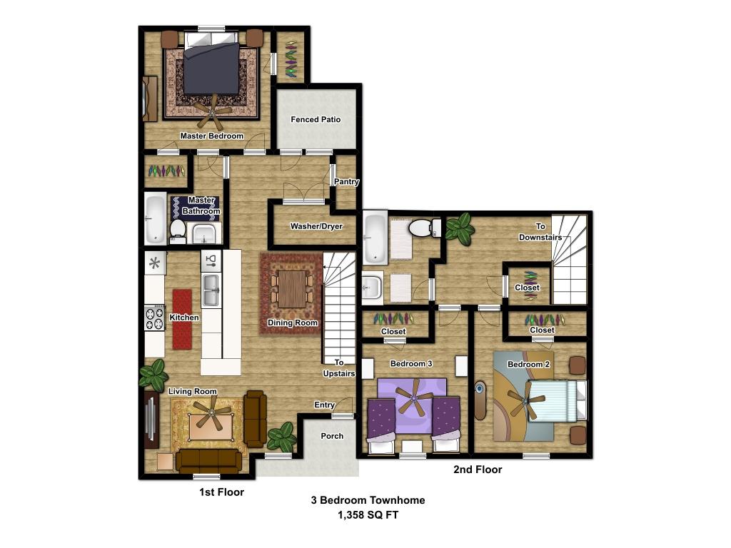 1,358 sq. ft. MKT floor plan
