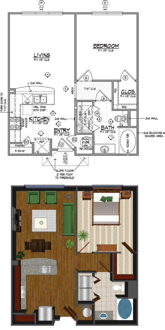 710 sq. ft. Ce floor plan