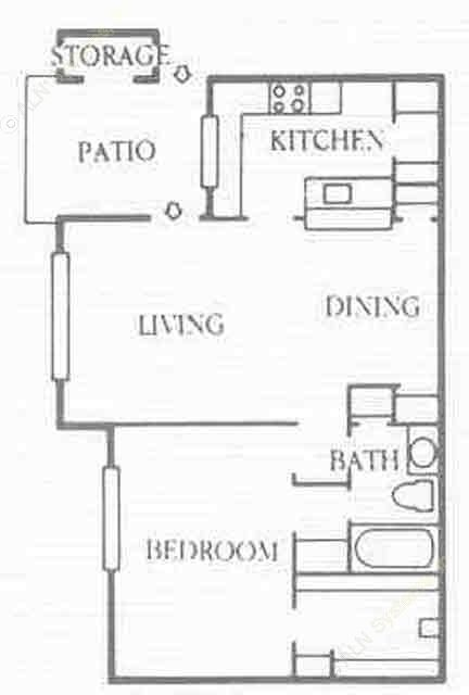 780 sq. ft. A3 floor plan