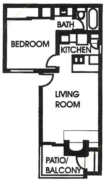 471 sq. ft. A1 floor plan