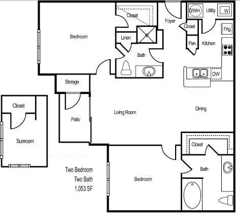 1,053 sq. ft. RIVIERA floor plan