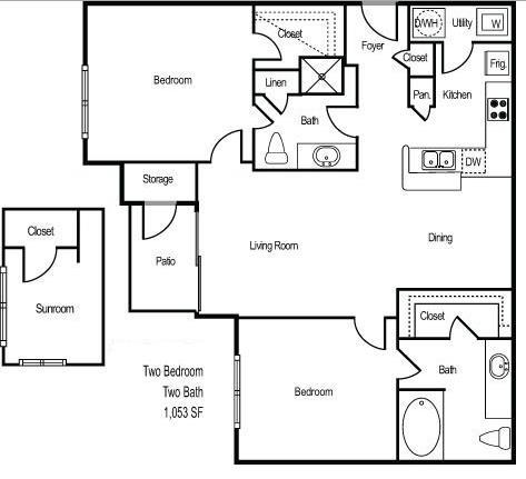 1,053 sq. ft. RIVIERA floor plan