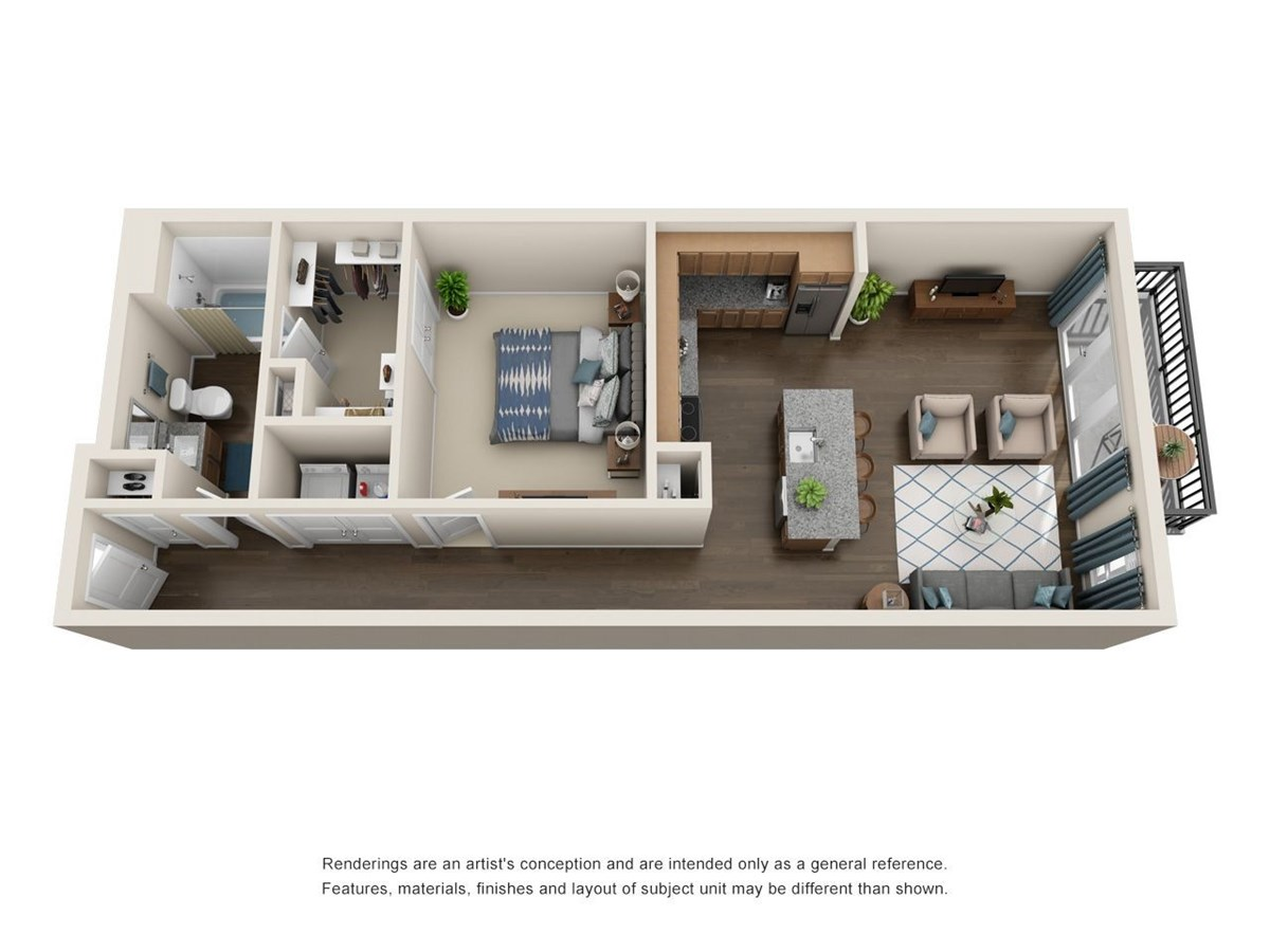 830 sq. ft. A5 floor plan