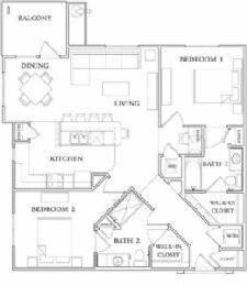 1,007 sq. ft. B1-50% floor plan