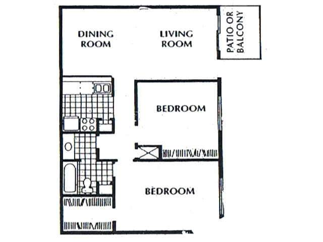937 sq. ft. B2 floor plan