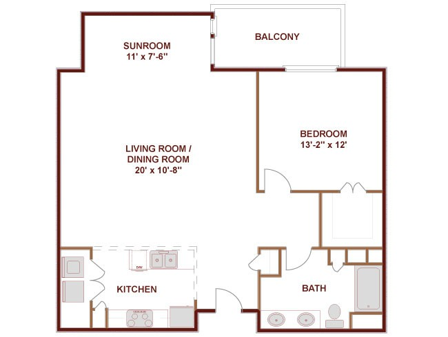 1,053 sq. ft. REDRIVER floor plan