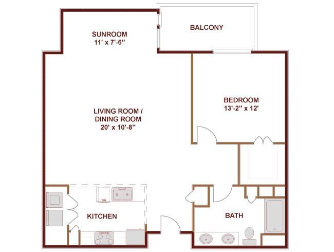 1,053 sq. ft. Redriver floor plan
