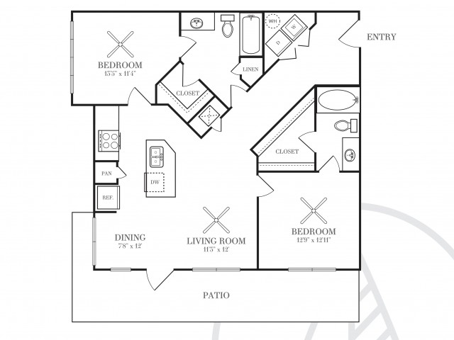 1,080 sq. ft. B2W floor plan
