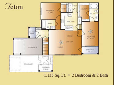 1,133 sq. ft. to 1,194 sq. ft. TETON floor plan