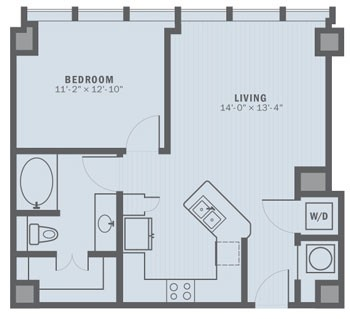 725 sq. ft. A1B floor plan
