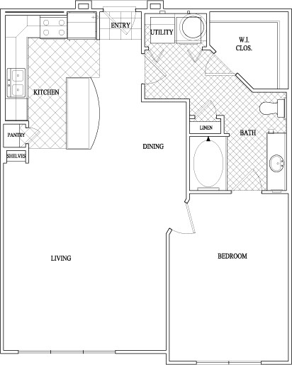 864 sq. ft. to 876 sq. ft. floor plan