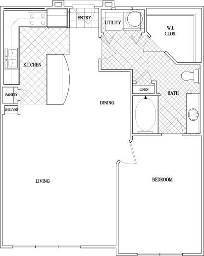 864 sq. ft. to 876 sq. ft. floor plan