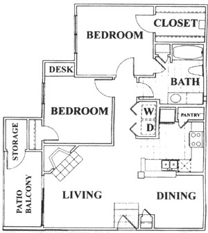 908 sq. ft. D floor plan
