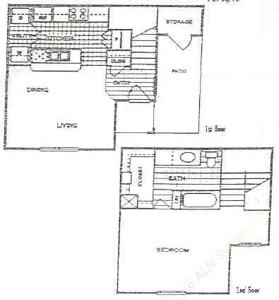 729 sq. ft. B floor plan