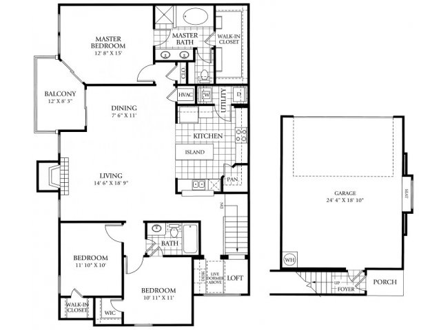 1,597 sq. ft. C2 floor plan