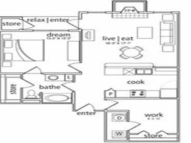965 sq. ft. Seville floor plan
