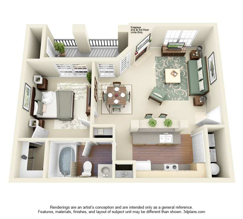 725 sq. ft. Baylor floor plan