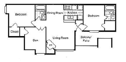 1,109 sq. ft. C1 floor plan