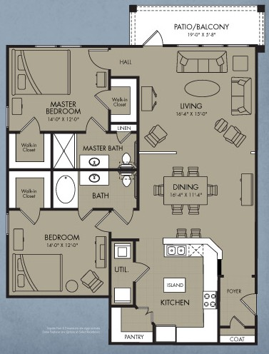1,400 sq. ft. Cressida floor plan