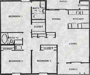 956 sq. ft. Patio 50% floor plan