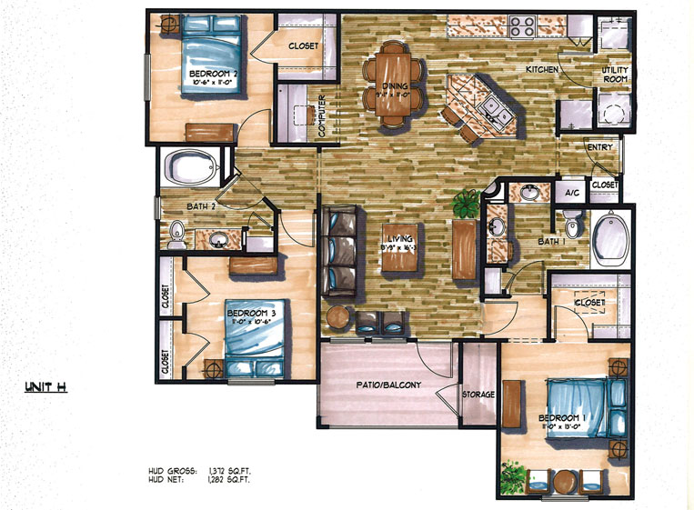 1,372 sq. ft. F floor plan