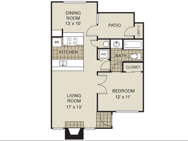 713 sq. ft. A6-C floor plan