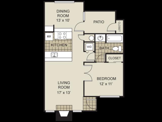 713 sq. ft. A6-C floor plan