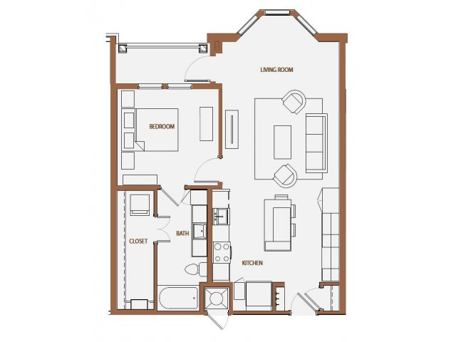 835 sq. ft. A2-6 floor plan