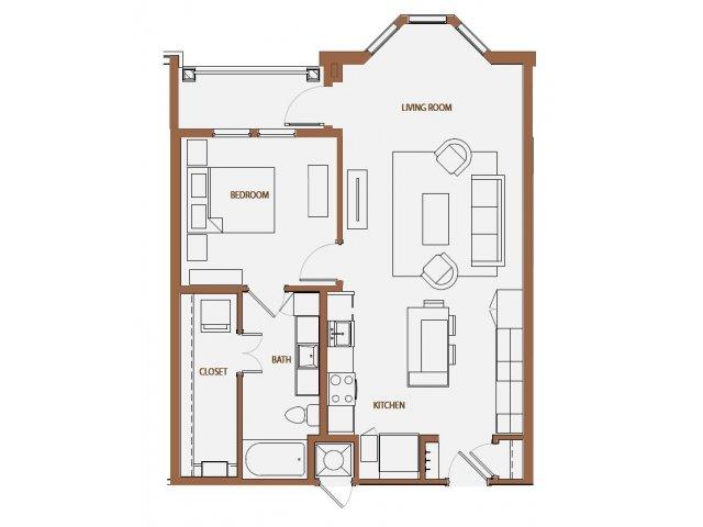 835 sq. ft. A2-6 floor plan